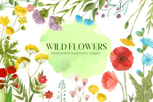 Print on Demand: Wildflower Watercolor Floral Clipart Set Graphic Illustrations By roselocket