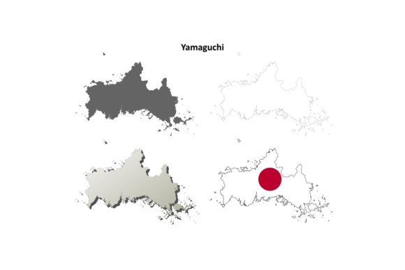 Download Free Yamaguchi Outline Map Set Graphic By Davidzydd Creative Fabrica for Cricut Explore, Silhouette and other cutting machines.