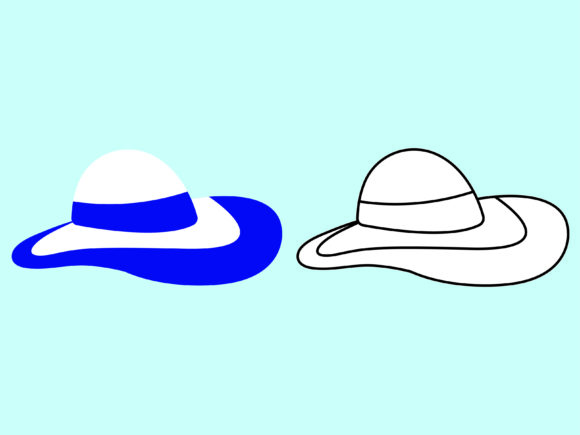 Download Free Beach Hat Kids Coloring Vector Beach Set Graphic By 1tokosepatu for Cricut Explore, Silhouette and other cutting machines.
