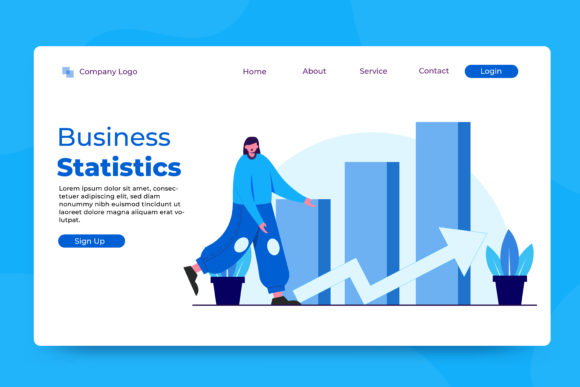 Download Free Landing Page Business Statistics Graphic By Okevector Creative for Cricut Explore, Silhouette and other cutting machines.