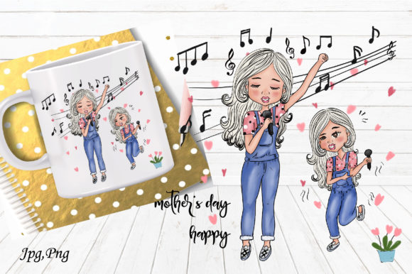 Print on Demand: Mother's Day Happy Song Graphic Illustrations By Suda Digital Art