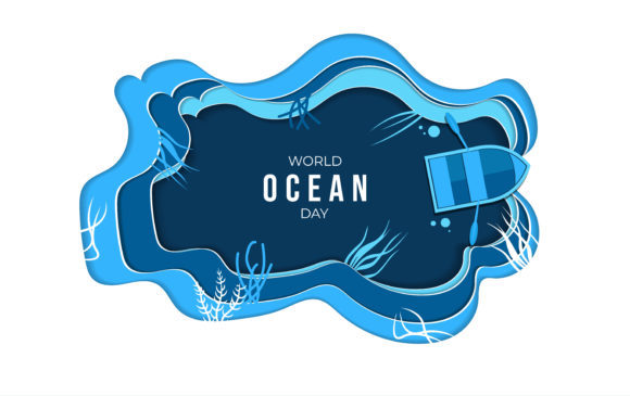 Paper Art Design of World Ocean Day Graphic Logos By ngabeivector
