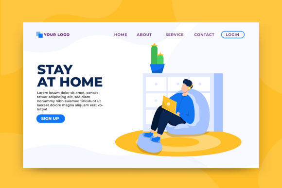Download Free Stay At Home Concept Landing Page Graphic By Okevector for Cricut Explore, Silhouette and other cutting machines.