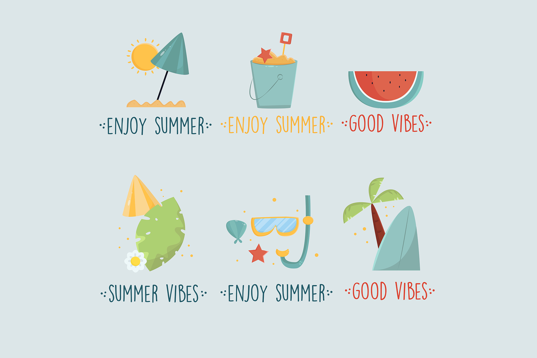 Download Free Summer Labels Hand Drawn 1 Graphic By Aprlmp276 Creative Fabrica for Cricut Explore, Silhouette and other cutting machines.