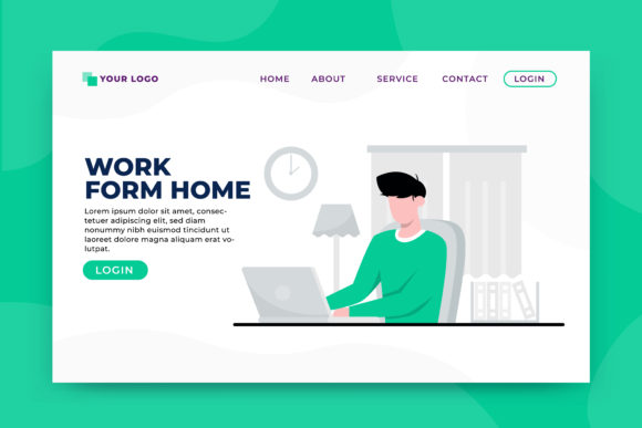 Download Free Work From Home Concept Landing Page Graphic By Okevector for Cricut Explore, Silhouette and other cutting machines.