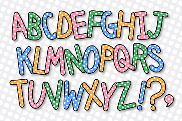 Print on Demand: Alphabet Polka Dot Lettering Clipart Graphic Crafts By Prawny - Image 2
