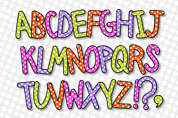 Print on Demand: Alphabet Polka Dot Lettering Clipart Graphic Crafts By Prawny - Image 3
