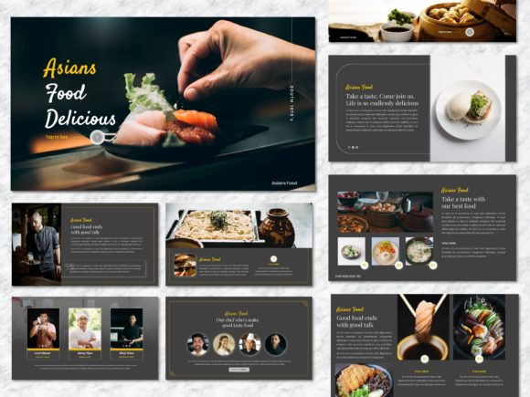 Asian Food - Food & Beverage Googleslide Graphic Presentation Templates By Yumnacreative