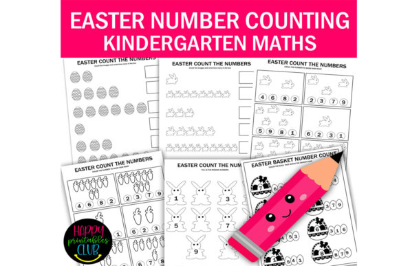 Print on Demand: Easter Numbers Count Math Worksheets Graphic K By Happy Printables Club
