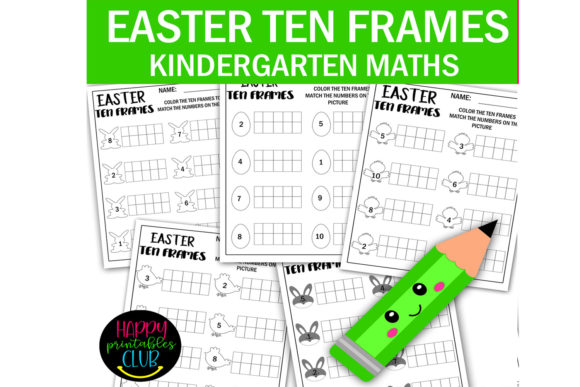Easter Ten Frames Math Worksheets Graphic K By Happy Printables Club