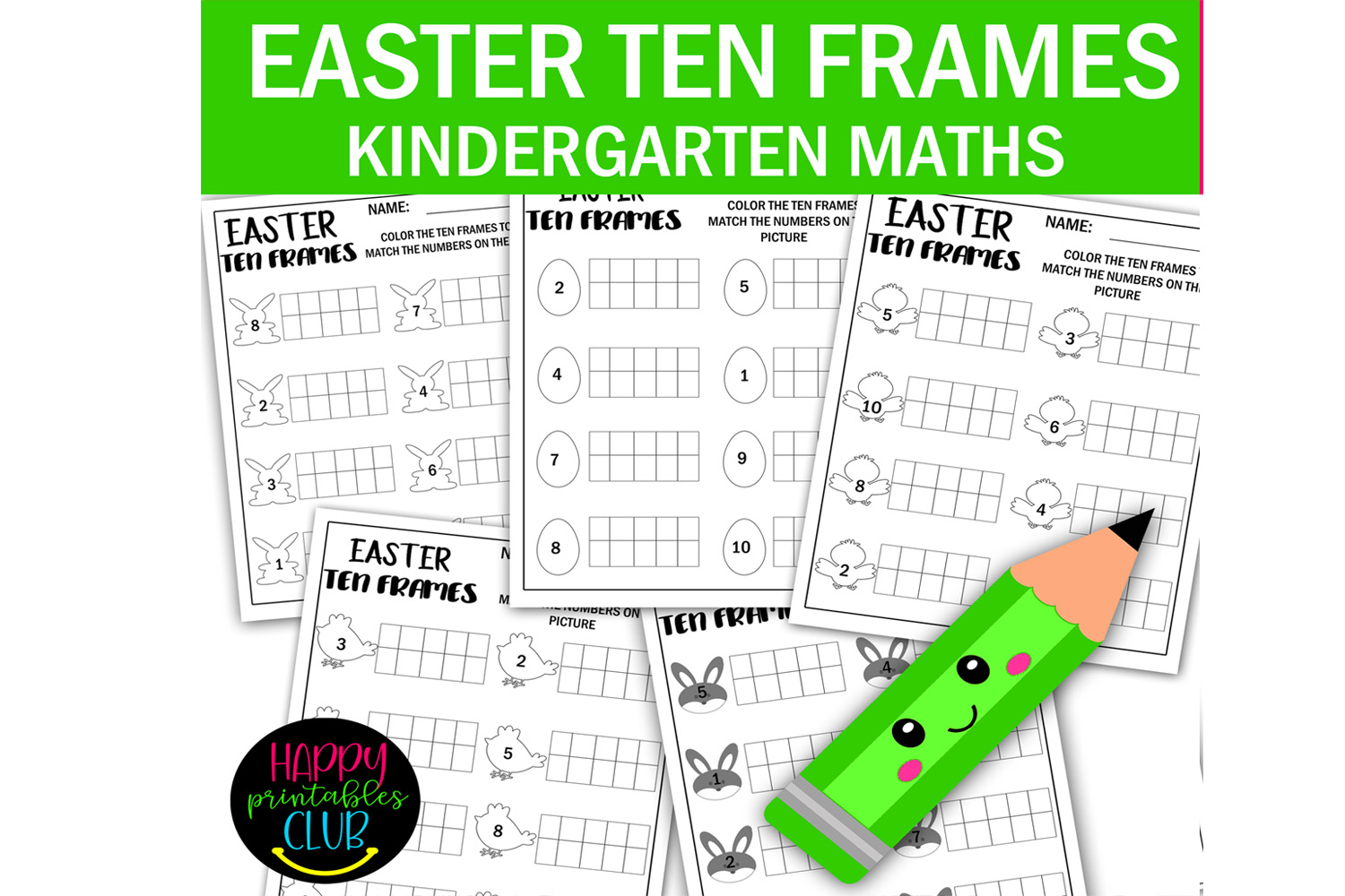 Easter Ten Frames Math Worksheets Graphic By Happy Printables