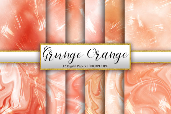 Grunge Orange Watercolor Background Graphic Backgrounds By PinkPearly