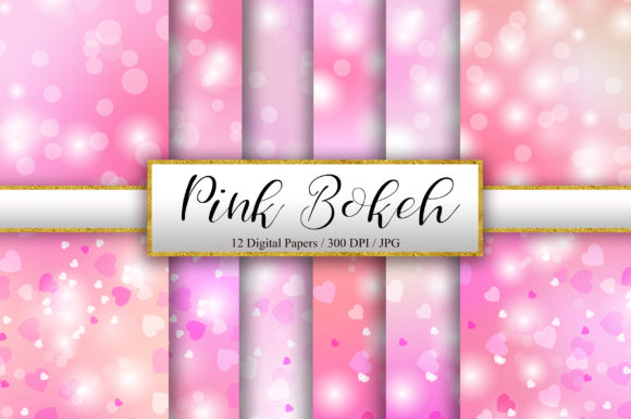 Pink Bokeh and Heart Background Graphic Backgrounds By PinkPearly