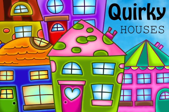Print on Demand: Quirky Houses Rustic Cottage Clipart Graphic Illustrations By Prawny - Image 1