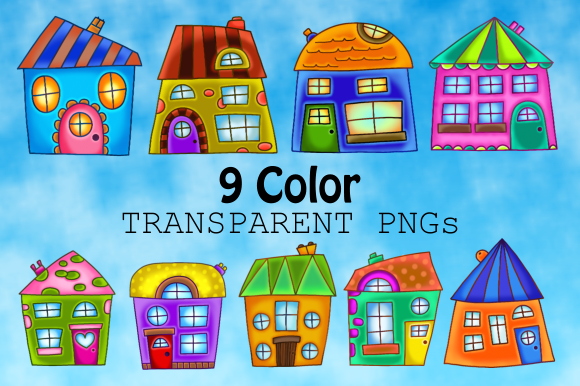 Print on Demand: Quirky Houses Rustic Cottage Clipart Graphic Illustrations By Prawny - Image 2