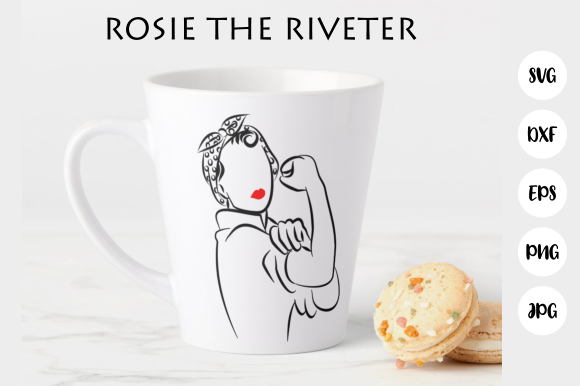 Print on Demand: Rosie the Riveter Cute File Line Clipart Graphic Crafts By Prawny - Image 1