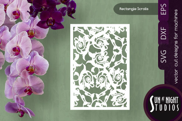 Scrolls Rectangle Vector Cut Graphic Crafts By Sun At Night Studios
