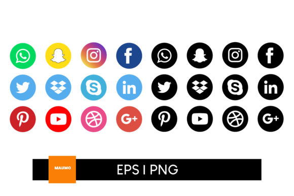 Print on Demand: Social Media Icons Gráfico Iconos Por Maumo Designs