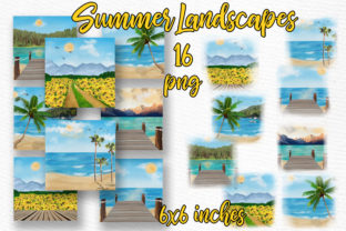 Print on Demand: Summer Backdrop Beach Landscape Graphic Illustrations By LeCoqDesign