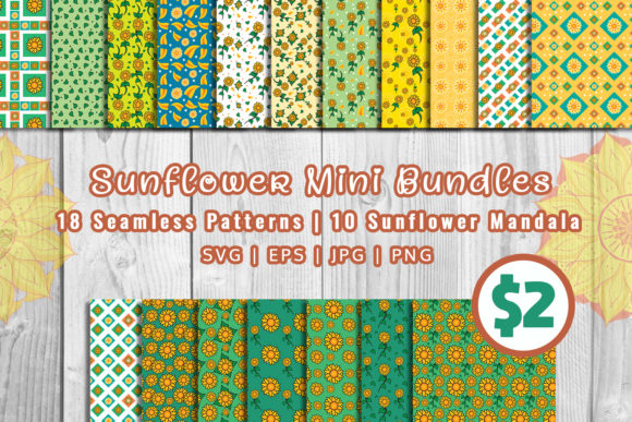 Download Free Sunflower Mini Bundles Patterns Mandala Graphic By Damasyp for Cricut Explore, Silhouette and other cutting machines.