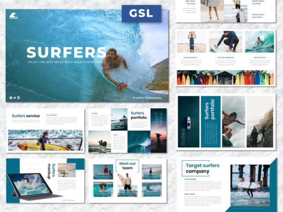 Surfers - Creative Business Googleslide Graphic Presentation Templates By Yumnacreative