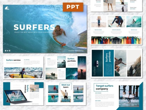 Surfers - Creative Business PowerPoint Graphic Presentation Templates By Yumnacreative