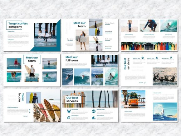 Surfers - Creative Business PowerPoint Graphic Presentation Templates By Yumnacreative - Image 3