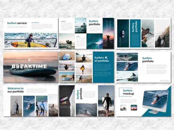 Surfers - Creative Business PowerPoint Graphic Presentation Templates By Yumnacreative - Image 4