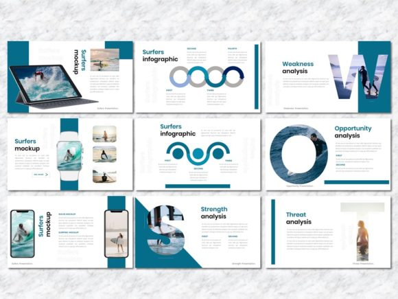 Surfers - Creative Business PowerPoint Graphic Presentation Templates By Yumnacreative - Image 5