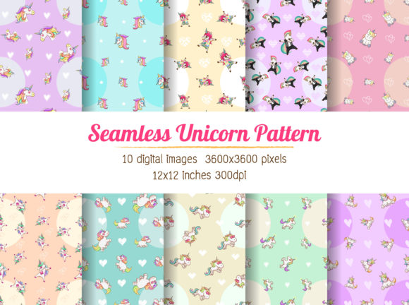 Download Free Unicorn Digital Paper Background Graphic By Euphoria Design for Cricut Explore, Silhouette and other cutting machines.