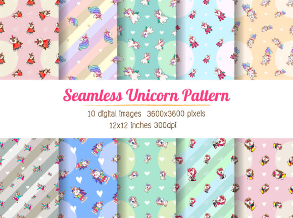 Download Free Unicorn Digital Paper Seamless Graphic By Euphoria Design for Cricut Explore, Silhouette and other cutting machines.