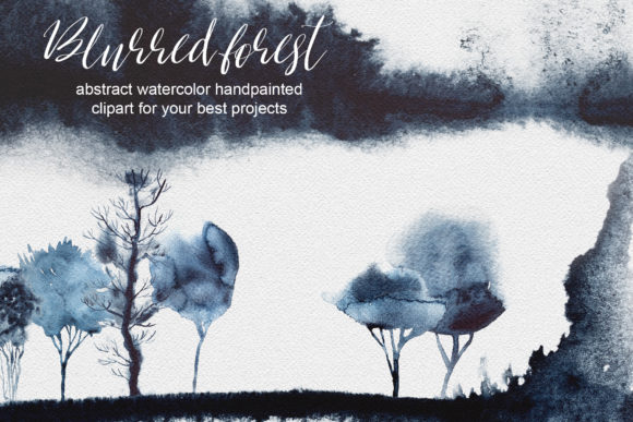 Watercolor Blurred Forest Clipart Graphic Illustrations By artcreationsdesign