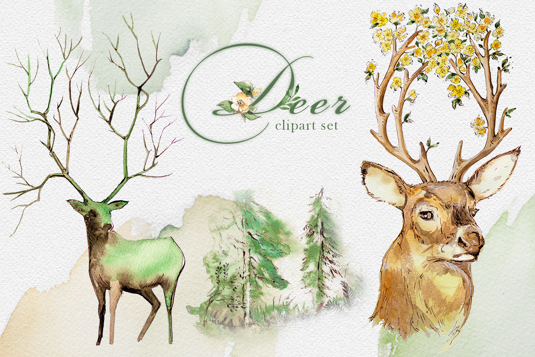 watercolor deer clipart set graphic by artcreationsdesign creative fabrica watercolor deer clipart set