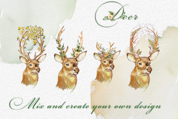 Watercolor Deer Clipart Set Graphic Illustrations By artcreationsdesign - Image 5