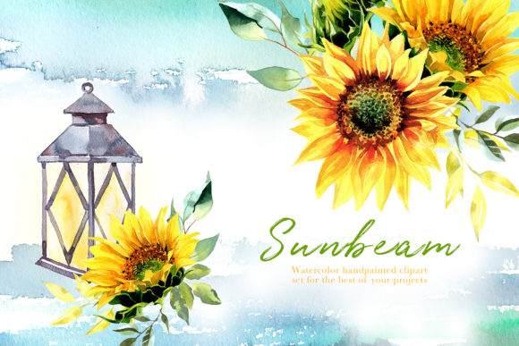 Watercolor Sunbeam Clipart Set Grafik Illustrationen von artcreationsdesign