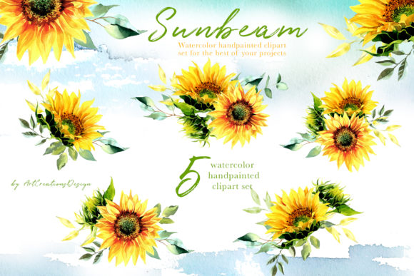 Watercolor Sunbeam Clipart Set Graphic Illustrations By artcreationsdesign - Image 3