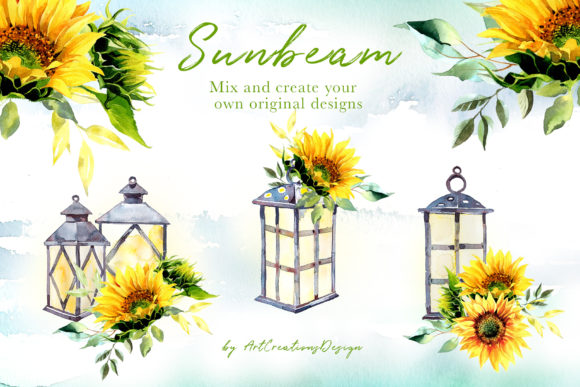 Watercolor Sunbeam Clipart Set Graphic Illustrations By artcreationsdesign - Image 4