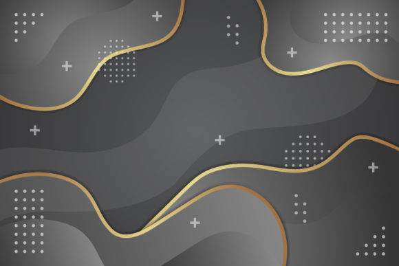 Print on Demand: Wave Black Gold Background Graphic Backgrounds By noory.shopper