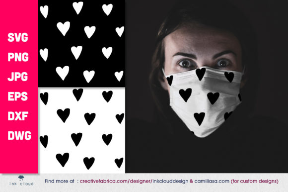 Download Free 2 Health Mask Heart Patterns Background Graphic By for Cricut Explore, Silhouette and other cutting machines.