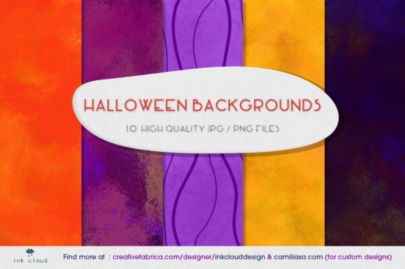 Print on Demand: 5 Halloween Background Horror Texture Graphic Backgrounds By Inkclouddesign