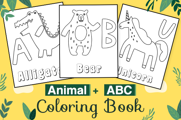 Download Free Abc And Animals Coloring Book For Kdp Graphic By Kdp Interiors for Cricut Explore, Silhouette and other cutting machines.