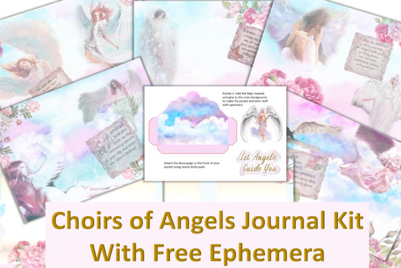 Download Free Angel Journal Kit Free Ephemera Graphic By The Paper Princess for Cricut Explore, Silhouette and other cutting machines.