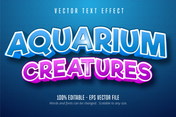 Print on Demand: Aquarium Creatures Editable Text Effect Graphic Graphic Templates By Mustafa Bekşen