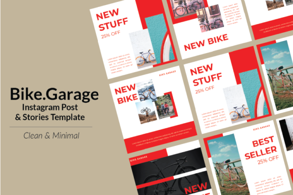 Download Free Bike Instagram Template Graphic By Nirmala Graphics Creative for Cricut Explore, Silhouette and other cutting machines.