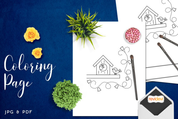 Download Free Bird House Coloring Page Graphic By Revidevi Creative Fabrica for Cricut Explore, Silhouette and other cutting machines.