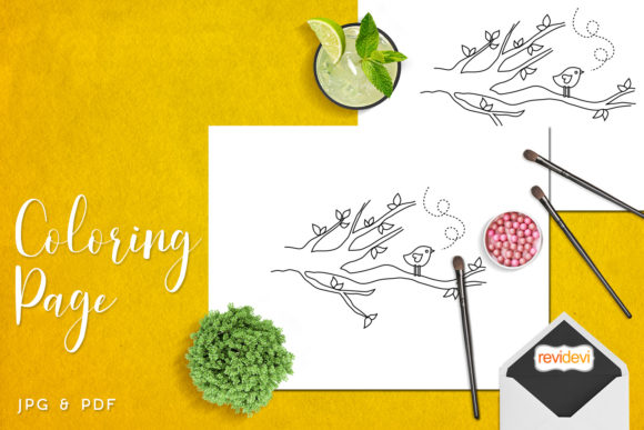Download Free Bird On Tree Branch Coloring Graphic By Revidevi Creative Fabrica for Cricut Explore, Silhouette and other cutting machines.