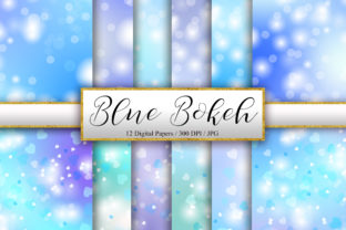 Print on Demand: Blue Bokeh and Heart Background Graphic Backgrounds By PinkPearly