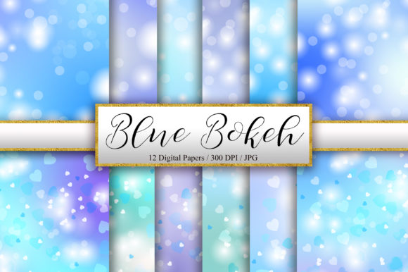Blue Bokeh and Heart Background Graphic Backgrounds By PinkPearly
