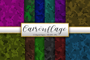Print on Demand: Camouflage Background Digital Papers Graphic Backgrounds By PinkPearly