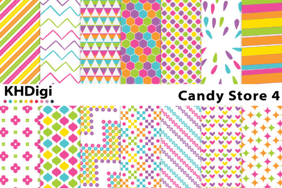 Print on Demand: Candy Store 4 - Mixed Patterns Graphic Backgrounds By KHDigi